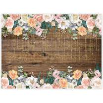 Allenjoy 8x6ft Rustic Floral Wooden Backdrop for Boho Baby Bridal Shower Wedding Graduation Photography Pictures Brown Wood Floor Flower Wall Background Newborn Birthday Party Banner Photo Shoot Booth