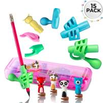 Pencil Grips for Kids Writing. Handwriting aid, Posture Correction, Pen Holder (15 pcs) (Pink)