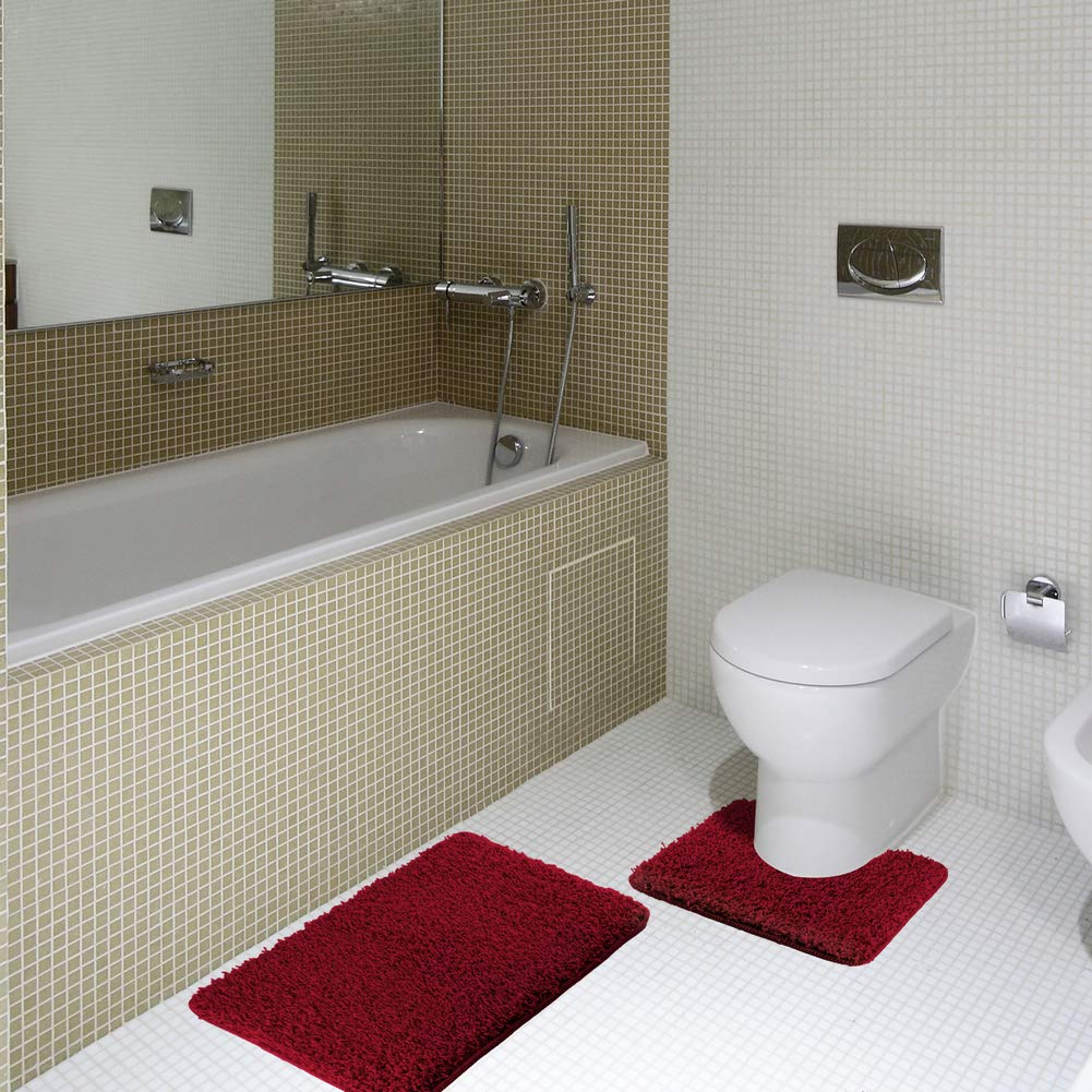 HOMEVER Bathroom Rugs Set 2 Piece Nonslip Latex Backing Includes Square U-Shape Contoured Toilet Mat & 29x18 Inch Carpet Rug Machine Washable for Shower & Bath Room
