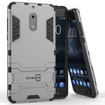 Nokia 6 Case, CoverON [Shadow Armor Series] Hard Slim Hybrid Kickstand Phone Cover Case for Nokia 6 - Silver/Black