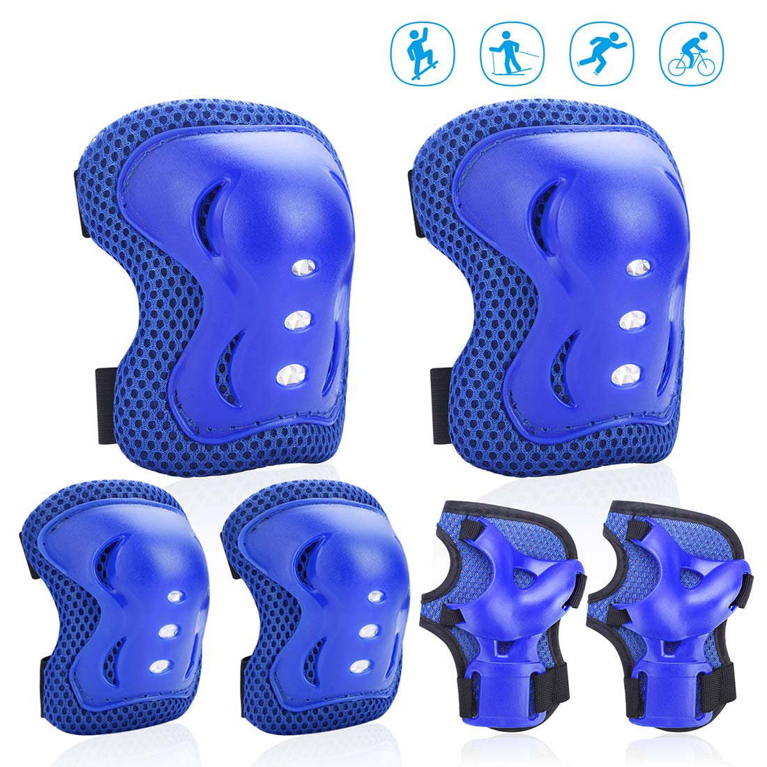 Feeke Knee Pads for Kids Knee and Elbow Pads Kids Protective Gear Adjustable Elastic Strap for Rollerblading Skateboard Cycling Skating Bike Scooter