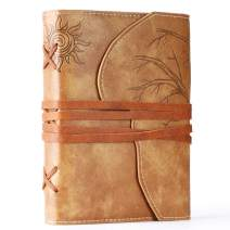 Unique Travel Journal-Refillable Faux Leather Bound Notebook- A6 Writing Diary with Loose-Leaf Pages& Pen Holder-Vintage Travel Gifts for Women & Men-Daily Use Vegan Gift Ideas for Travelers