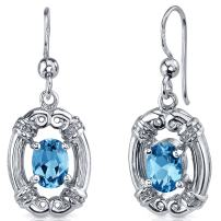 Peora Swiss Blue Topaz Earrings Sterling Silver Antique Style 2.00 Carats