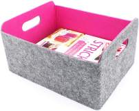 Endless Functions Storage Baskets Felt Foldable Storage Cube bin Shelf Bins Organizer Felt Box for for Kids Toys Magazine Books Clothes for Office Bedroom Closet Babies Nursery Laundry (Hot Pink)