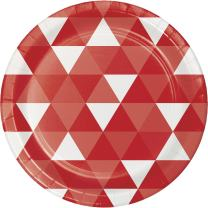 Creative Converting 319965 96 Count Dessert/Small Paper Plates, Fractal Classic Red
