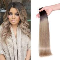 Maxfull Tape in Dark Brown and Blonde Hair Extensions Human Hair, Seamless Skin Weft Adhesive Tape in Hair Extensions 100% Remy Human Hair Brown Roots T2/15 18 Inch 50g/20pcs