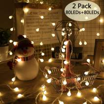 POP Mart Globe String Lights 2 Pack 80 LEDs 34 Ft Christmas Ball String Lights Battery Operated Fairy Lights Waterproof Decoration for Indoor Outdoor Wedding Christmas Tree Garden 3 Lighting Modes