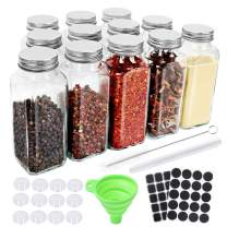 CycleMore 12 Pack 8oz Glass Spice Jars Bottles, Square Spice Containers with Silver Metal Caps and Pour/Sift Shaker Lid-40pcs Black Labels,1pcs Collapsible Funnel,1pcs Brush and 1pcs Pen Included
