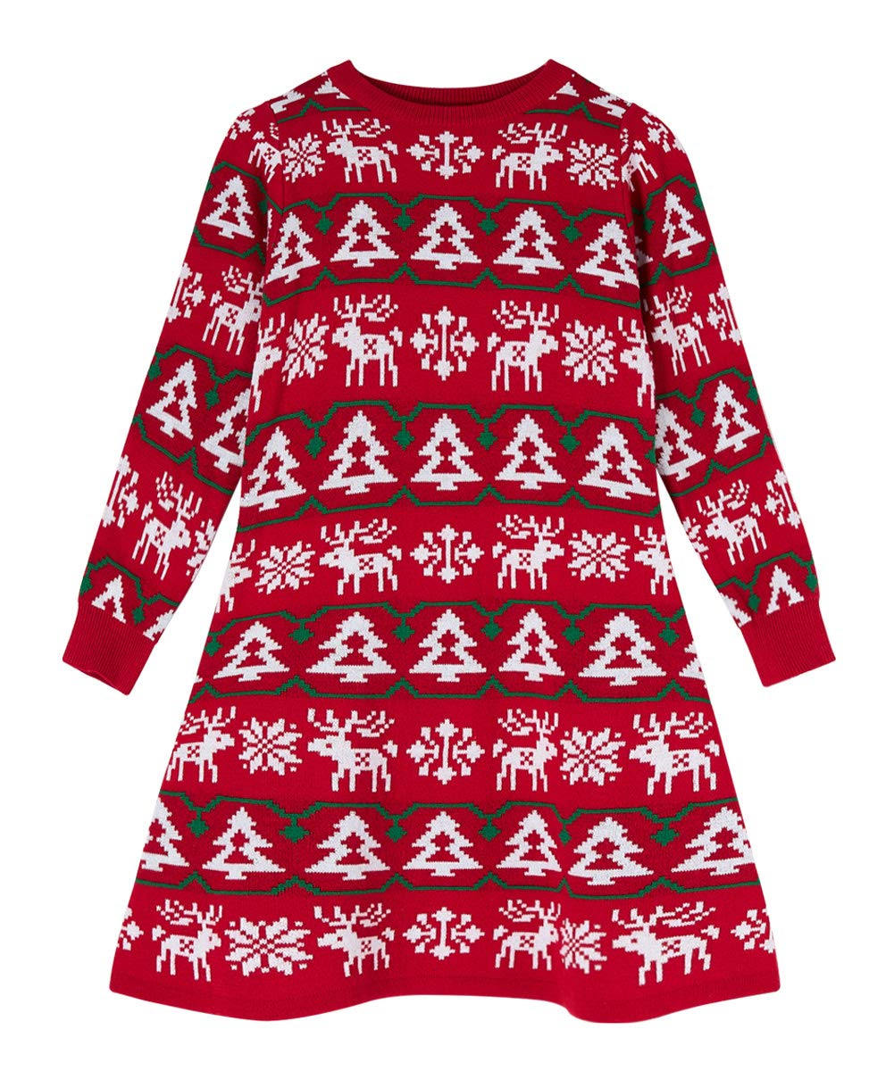Loveternal Little Girls Christmas Sweater Dresses Crewneck Winter Knit Long Sleeves Xmas Dress 4-8T