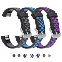 SKYLET Compatible with Fitbit Ace/Fitbit Alta Hr Bands, 3 Pack Soft Breathable Sport Wristbands Compatible with Fitbit Alta Kids Band Men WomenBlack-Gray, Black-Blue, Black-Purple Large