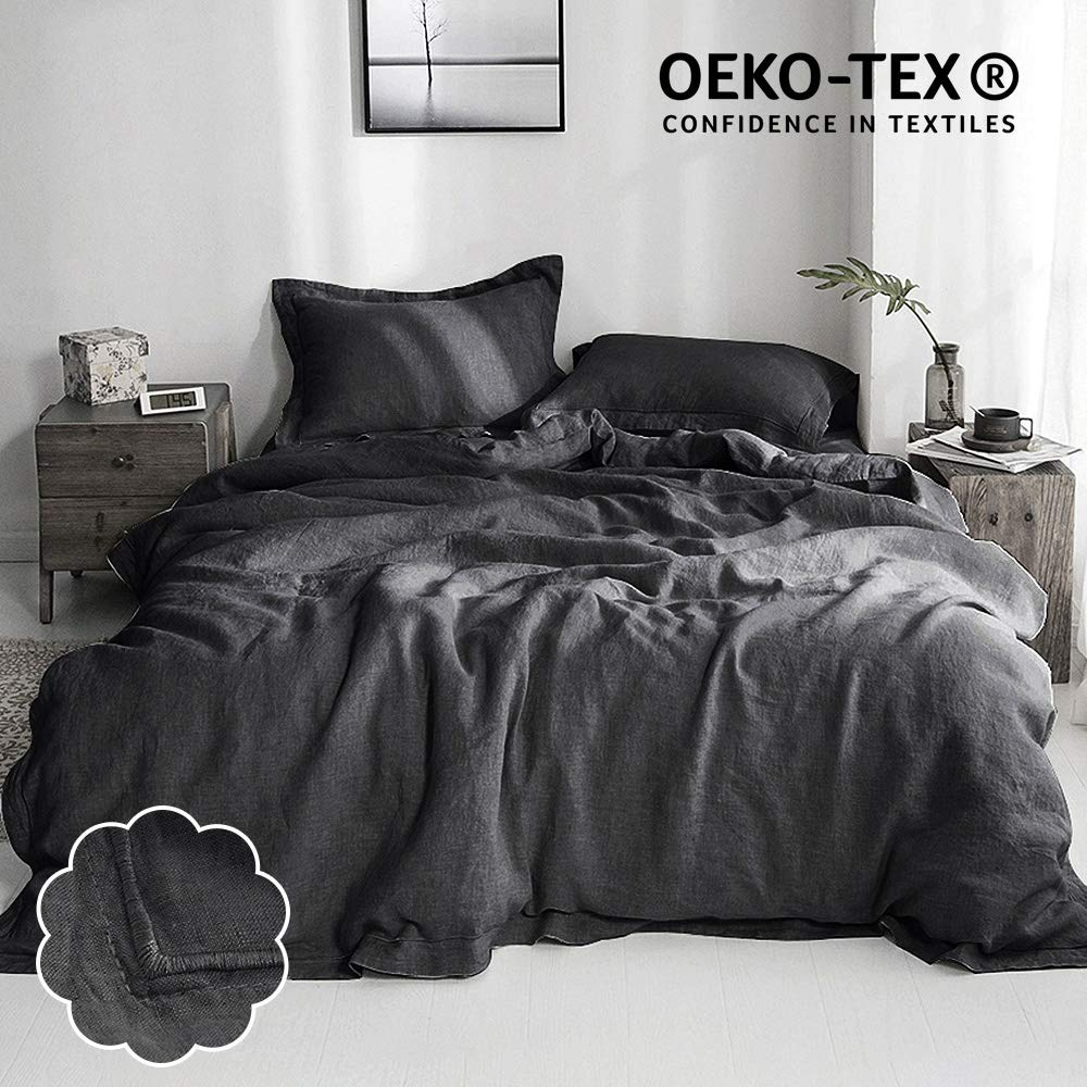 Simple&Opulence 100% Washed Linen Duvet Cover Set 3 Piece Farmhouse Bedding Sets (1comforter Cover and 1 Pillow Sham/Cover) with Hidden Button Closure(Charcoal Grey,Twin)