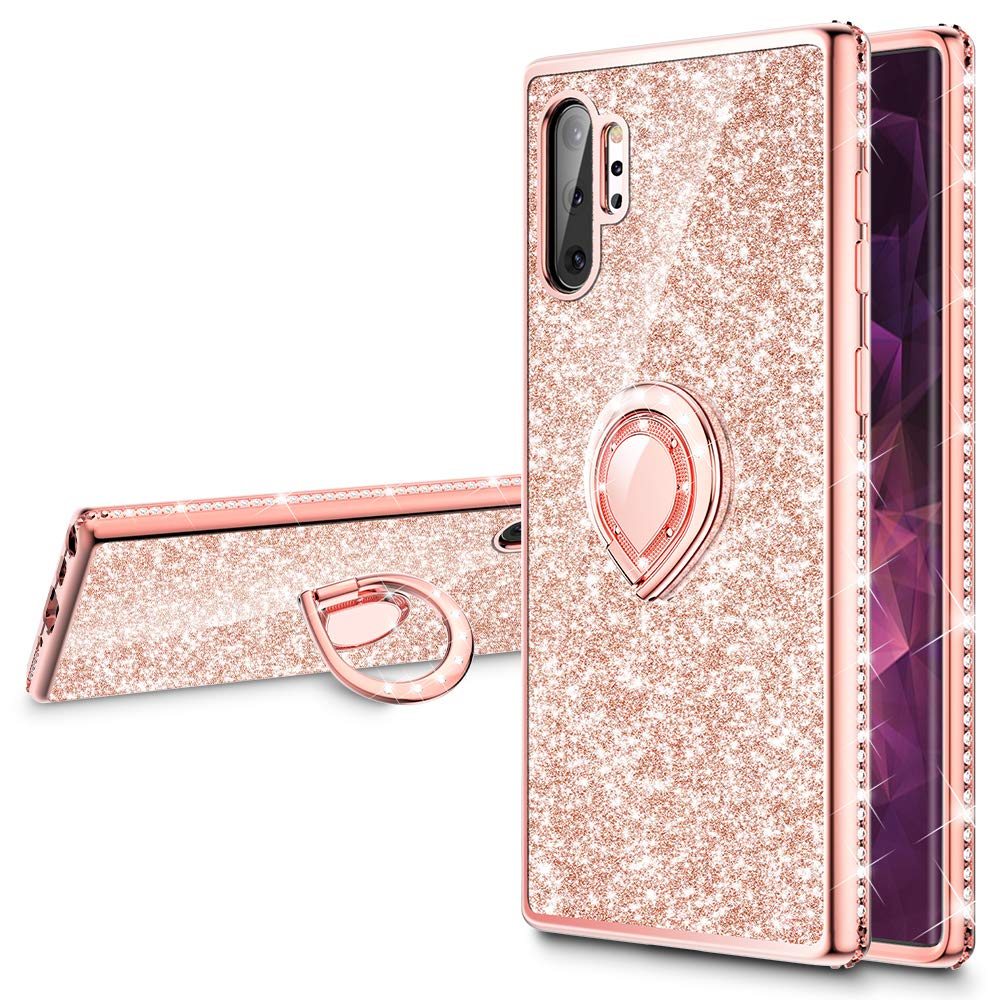 VEGO Galaxy Note 10 Plus Case Glitter Case for Girls Women Fancy Cute Fashion Sparkling Bling Rhinestone with Kickstand Ring Grip Holder Compatible for Galaxy Note 10 Plus 5G 6.8 inch(Rose Gold)