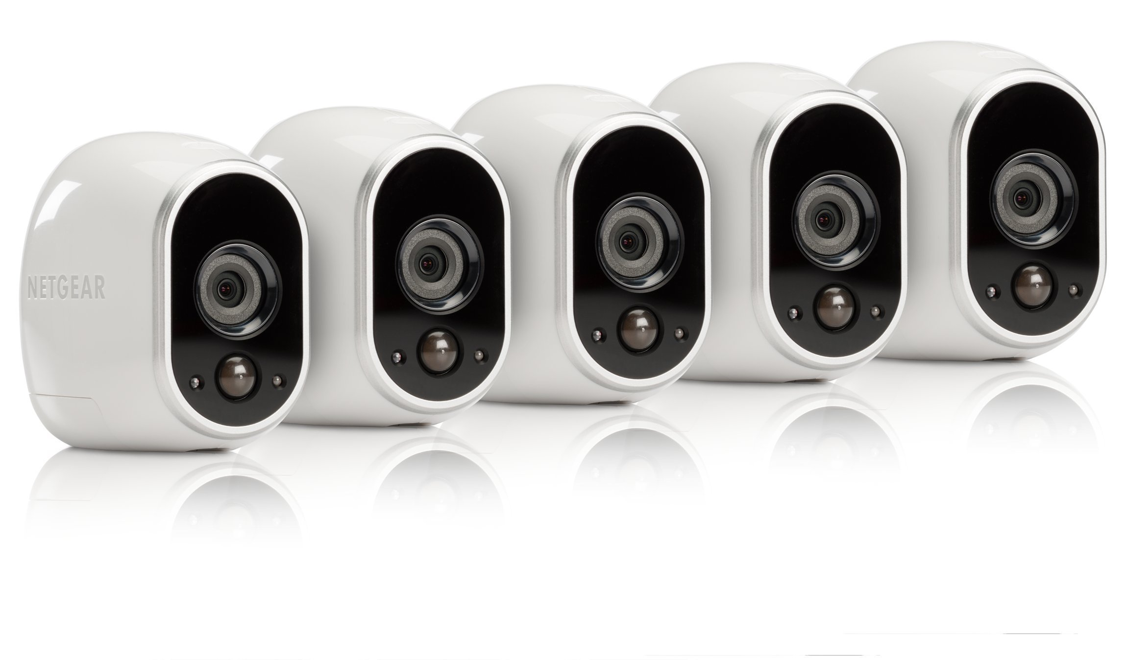 Arlo - Wireless Home Security Camera System | Night vision, Indoor/Outdoor, HD Video, Wall Mount | Cloud Storage Included | 5 camera kit (VMS3530-100NAR) - (Renewed)