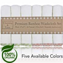 Channing & Yates - Premium Baby Washcloths - Bamboo (6-Pack) Organic Baby Wash Cloths 2X Thicker & Softer - 10 x 10 in - Perfect for Eczema - Adult Face Washcloths (Pink/Green on White)