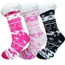 Women's Non-Skid Slipper Socks, Winter Super Soft Warm Cozy Fuzzy Fleece-Lined Slipper Socks With Grippers, 1/3 Pairs