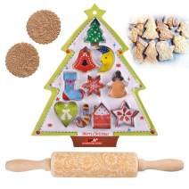 Cookie Cutters Set - 10 piece, Rolling Pins for Baking, Natural Wooden Embossed Design One-Piece Handle, Vine Snowflake Pattern, Perfect DIY Tool for Home Decorative