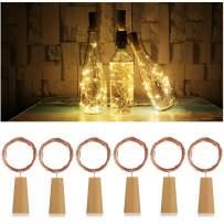 AnSaw 20-LEDs 6 Pack Bottle Lights Pro Spark I Cork Shaped Battery Strip Light Décor Rope Lamp for Seasonal Decorative Christmas Holiday (Warm White)