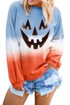 VamJump Women Long Sleeve Casual Tie Dye Sweatshirt Tie Dye Printed Pullover Tops(S-2XL)