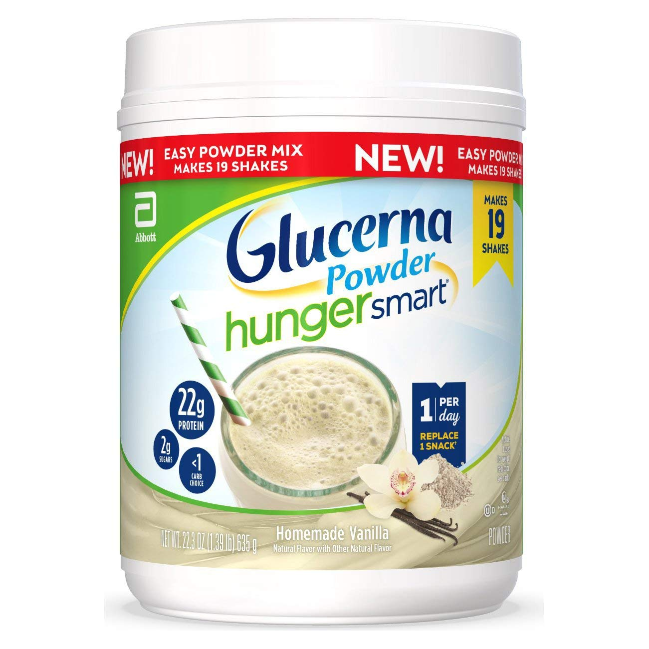Glucerna Hunger Smart Powder, with 22g of Protein and 2g Sugars, Gluten-Free Protein Powder Mix for People with Diabetes, Homemade Vanilla, 22.3-oz Tub, 2 Count