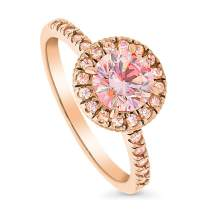 BERRICLE Rose Gold Plated Sterling Silver Halo Promise Engagement Ring Made with Swarovski Zirconia Morganite Color Round 1.28 CTW