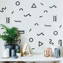 "Vinyl Wall Art Decal - Set of 34 Geometric Figures - from 1"" to 6"" Each - Cool Abstract Modern Stickers Design for Home Apartment Bedroom Living Room Playroom Nursery School Decoration"