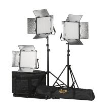 Ikan Rayden (3X) 1 x 1 Bi-Color 3200K-5600K Adjustable Studio/Field LED Lighting Kit, Barndoors, Stands and Case Included (RB10-3PT-KIT) - Black