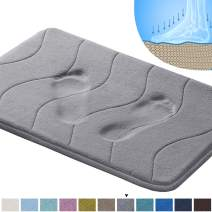 "20"" x 32"" Soft Bath Mat Extra Absorbent Memory Foam Rug Area Rug Toilet Floor Rug Machine-Washable, Perfect Bath/Tub Non-Slip Rubber Bathroom Rug Mats Water Absorbent Gray Waved Pattern"