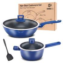 Set of 2 Non-Stick Pots & Pans,11'' Deep Frying Pan with 7.9'' Royal Blue Saucepan, Induction Compatible Aluminum Kitchen Skillet with Lid, FOA Free Dishwasher-Safe Cookware
