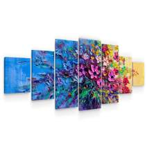 Startonight Large Canvas Wall Art - Bouquet of Purple Flowers in Blue Decoration - Huge Framed Modern Set of 7 Panels 40 x 95 Inches