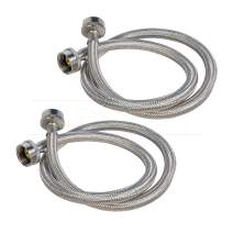 FlexCraft 2575PR-2 Stainless Steel Washing Machine Hose Connector Burst Proof, Hot and Cold Water Supply, Washing Machine Supply Line, 5 FT (2 Pack)