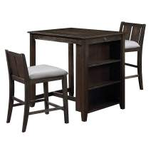 New Classic Furniture Heston Storage Counter Table Set with Two Chairs, 36-Inch, Cherry