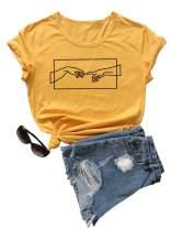SweatyRocks Women's Cute Graphic T-Shirts Crewneck Short Sleeve Casual Gesture Print Tee Tops