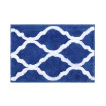 "Pauwer Geometric Non Slip Bath Rug for Bathroom Microfiber Bathroom Rug Water Absorbent Machine Washable (18""x26"", Blue)"