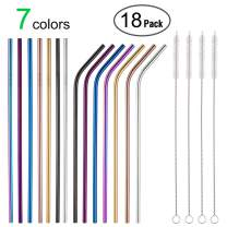 "MultiColor Colorful Stainless Steel Straws Set of 14 8.5"" Rainbow Multi-Colored Metal Drinking Straws,Reusable Straws for 30/20oz Tumbler FDA-Approved Eco-friendly Straws(7 Straight +7 Bent+4 Brushes)"