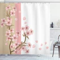 "Ambesonne Japanese Shower Curtain, Romantic Sakura Blooms Flowers Petals Spring Wind Eastern Nature Theme, Cloth Fabric Bathroom Decor Set with Hooks, 84"" Long Extra, Sand Brown"