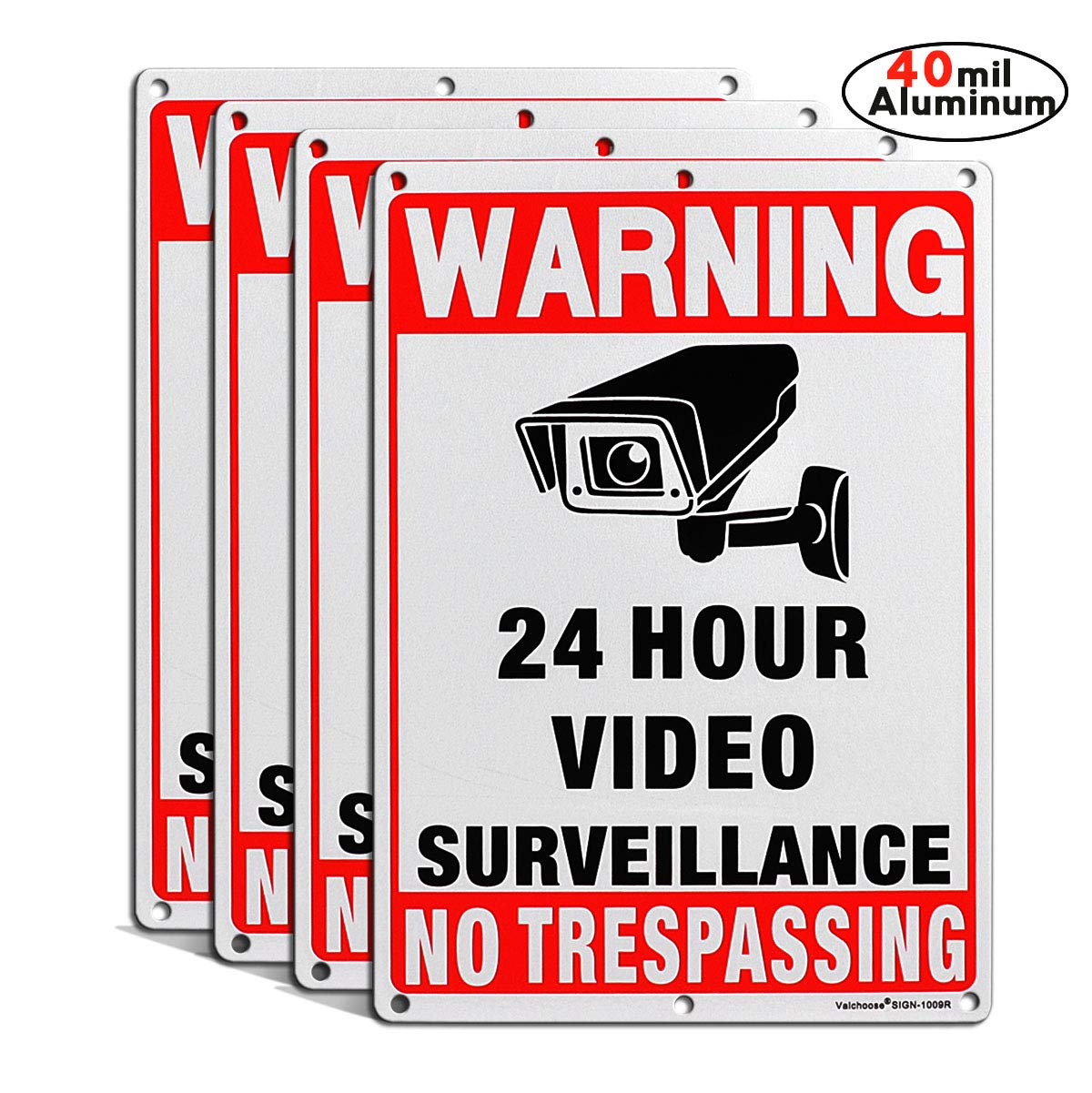 Video Surveillance Signs Outdoor 4PACK Premium, Surveillance Signs 24 Hour Video Clear Letters, 10x7 inches 40 mil Aluminum, UV Protected Reflective Rust Free, Easy to Mount with 6 Holes by Valchoose