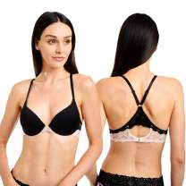 CATHERINE MALANDRINO Women's Micro Racerback Style T-Shirt Everyday Bra with Lace, 2 Pack, Black/Pink