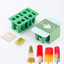 JACOBAKE Silicone Popsicle Molds, 10 Pieces Reusable Easy Release Ice Pop Molds with 100 Wooden Sticks & 100 Parcel Bags & 100 Sealing Lines for Homemade DIY Ice Cream, BPA Free, Green