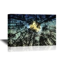 wall26 - Canvas Wall Art - Bright Full Moon Viewed Through The Trees from The Ground - Gallery Wrap Modern Home Decor | Ready to Hang - 12x18 inches