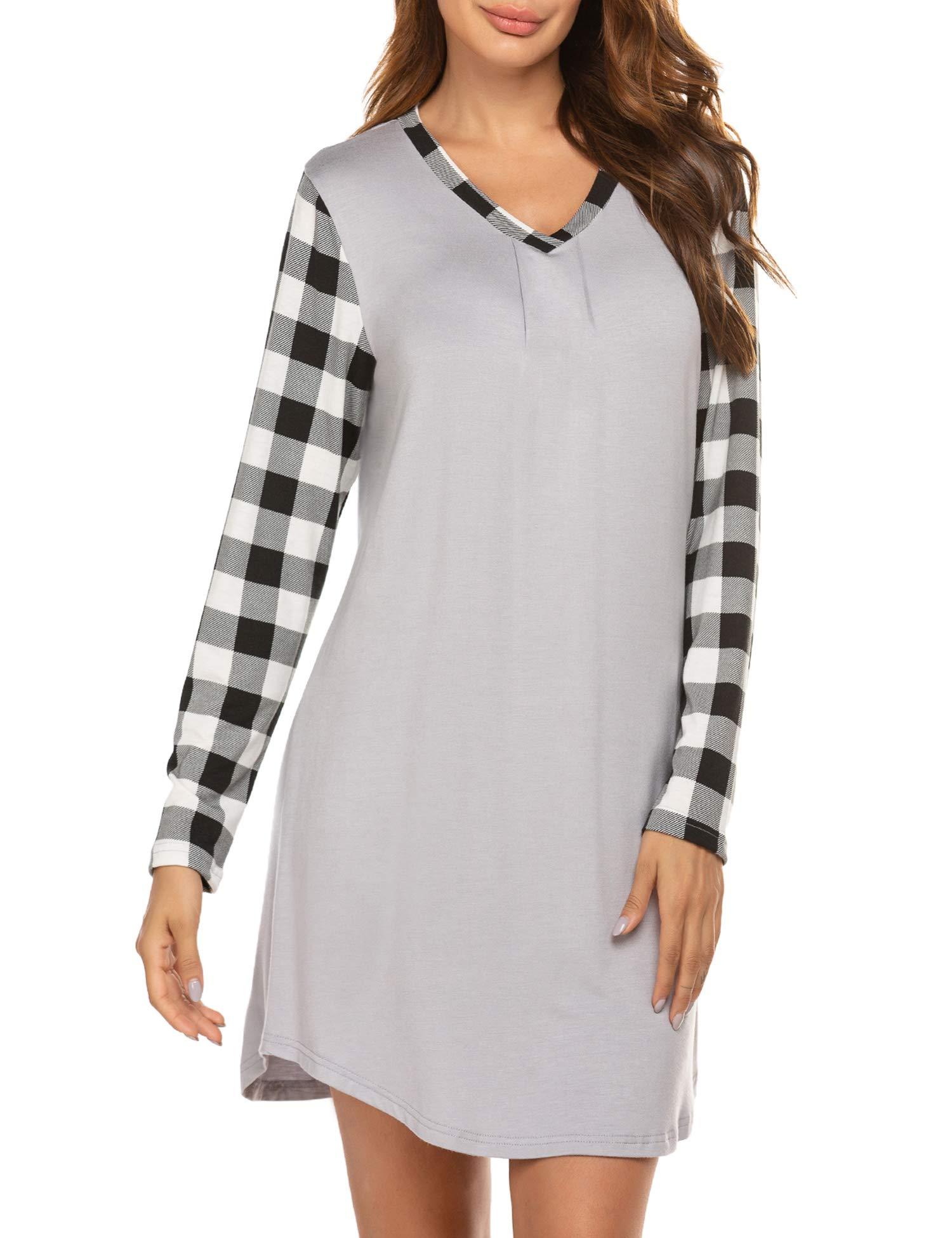 Ekouaer Sleepwear Women's Nightgown V Neck Long Sleeve Soft Plaid Nightshirt Casual Loungewear Sleep Shirt Dress