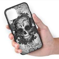 TMVFPYR Sugar Skull Black Case for iPhone 11, TPU Soft-Edge Scratch-Resistant Protective Hard Case with Bullet-Proof Glass Back