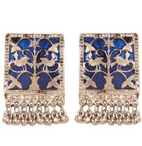Touchstone Indian Bollywood Pretty Fringes and Floral Theme Ethnic South Indian Chandbali Moon Bridal Designer Jewelry Chandelier Earrings for Women in Antique Gold Tone & Silver Oxidized Tone