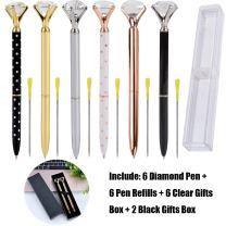 Outgeek 6PCS Big Crystal Diamond Pen Bling Metal Ballpoint Pen Office Supplies with Black Ink Pen Refills for Women Coworkers Teachers Girls (14PCS)