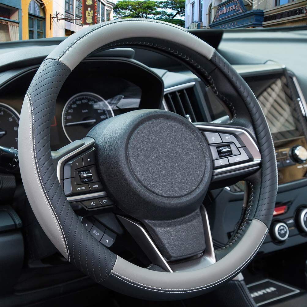 ZATOOTO Car Steering Wheel Cover Leather - Soft Gray Microfiber Leather Sport Universal 15 inch for Women Men