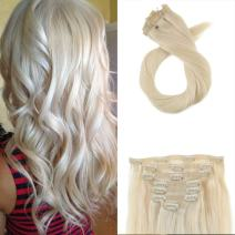 Moresoo PU Full Head Clip in Hair Extenions 18 Inch Real Human Hair Clip in Extensions Color 60 Platinum Blonde 100 Grams 7 Pieces Human Hair Extensions