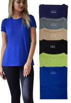 Women's Everyday Flowy Slub Burnout Active Casual Workout Crew T Shirt Tops - 6 Pack