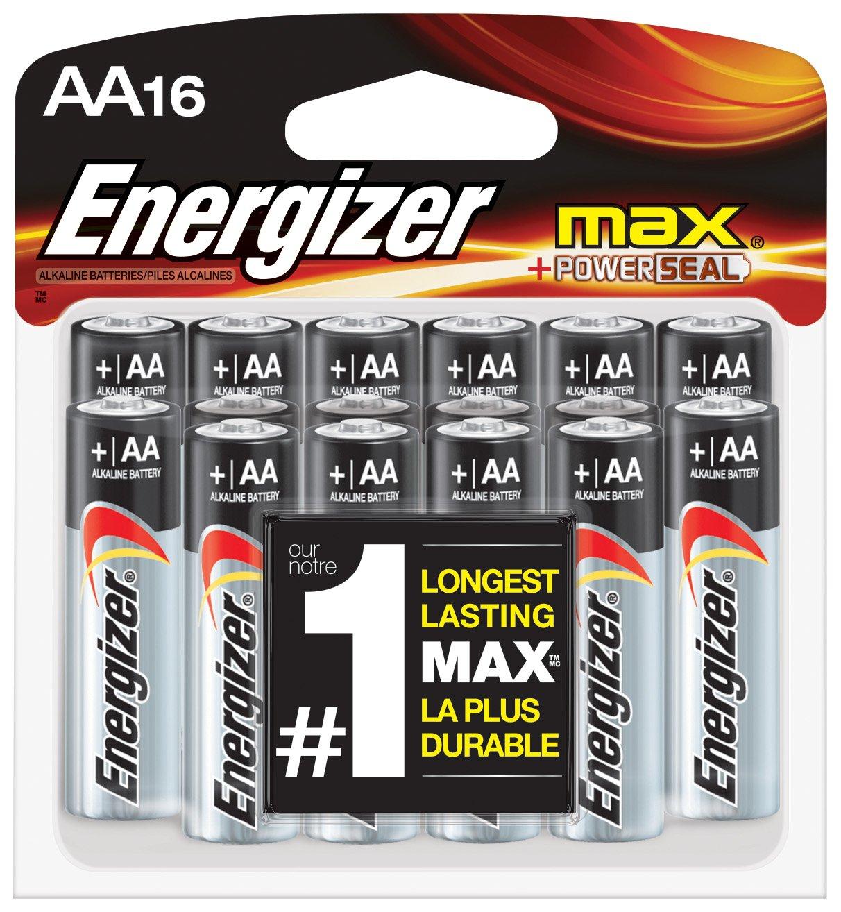 Energizer AA Batteries, Max Alkaline (16 Count)