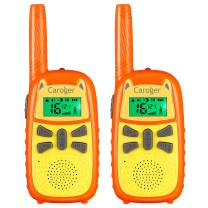 floureon Walkie Talkies for Kids,2 Way Radio Toys 22 Channels 3 Miles Long Range 7 Optional Screen Colors with Flashlight and VOX,0.1W and 0.5W Dual Working Power(Yellow&Orange,2 Pack)