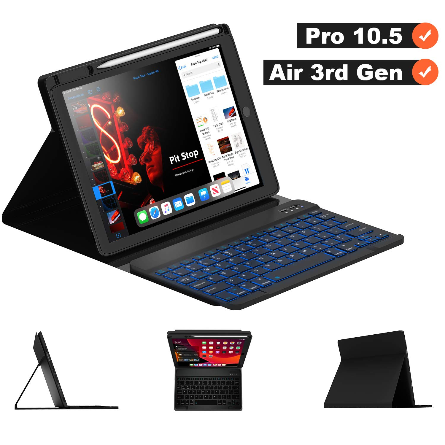"""Maxfree iPad Pro 10.5 2017 Keyboard Case for iPad Air 3rd Gen 10.5 2019, 7 Colors Backlight, Detachable Wireless Auto Sleep Keyboard with Pencil Holder, Full Folio Cover for iPad 10.5"""", Black"""