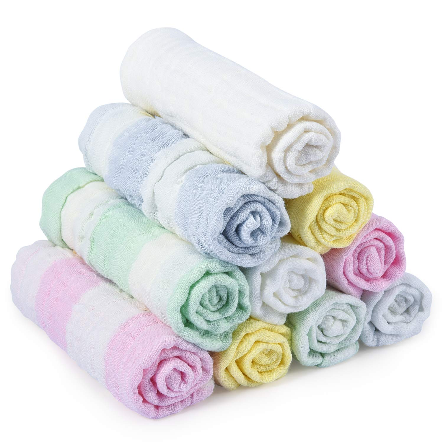 Baby Muslin Washcloths, Momcozy Baby Washcloths 12'' x 12'' 100% Muslin Cotton Soft Baby Towels Set Reusable Muslin Cotton Baby Wipes for Bath, Bibs and Hands, Unisex, Rainbow Color 10 Pack
